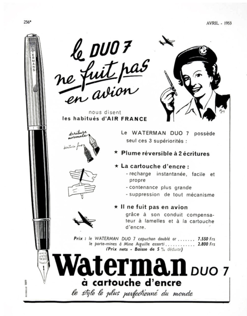 Extraordinary Vintage Pen Waterman Duo 7 Glass Cartridge