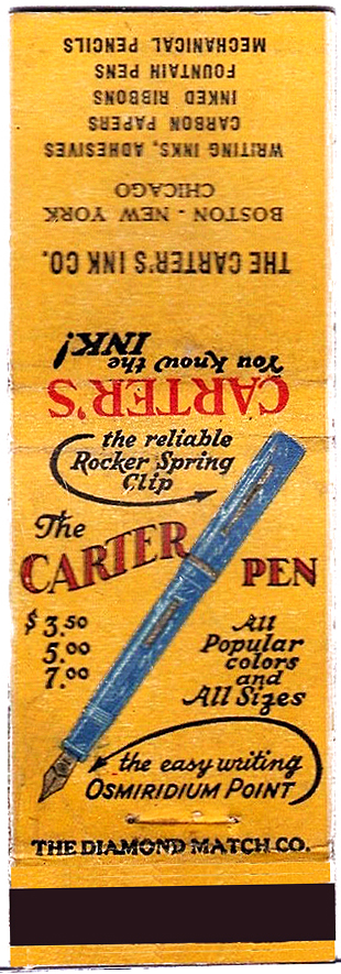 Carter's Ink - Fountain pens Matchbook